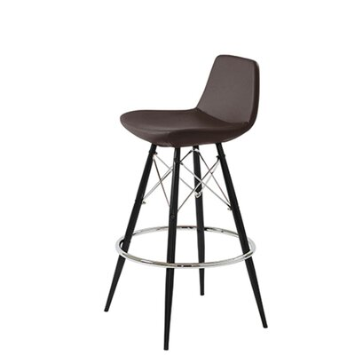 Shinn Dowel 29 Bar Stool Leg Color: Black, Seat Color: Brown Leatherette