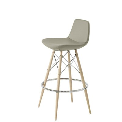 Shinn Dowel 24 Bar Stool Leg Color: Natural, Seat Color: Bone Leatherette