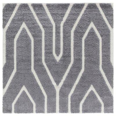 Artz Gray Lines Area Rug Size: 6 x 6