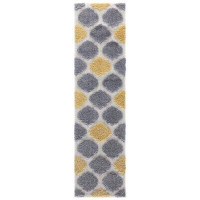 Artz Gray/Yellow Area Rug Size: 2 x 8