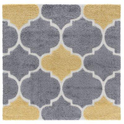 Artz Gray/Yellow Area Rug Size: 6 x 6