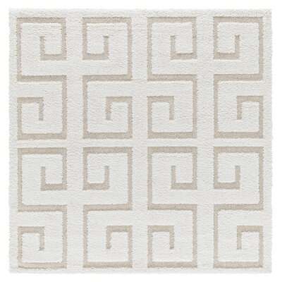 Artz Rectangle White/Beige Area Rug Size: 6 x 6