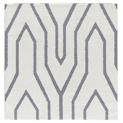 Artz White/Gray Lines Area Rug Size: 6 x 6