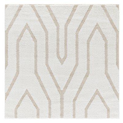 Artz White/Beige Lines Area Rug Size: 6 x 6