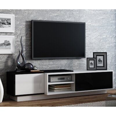 Dedrick 71 TV Stand Color: White Gloss/Black