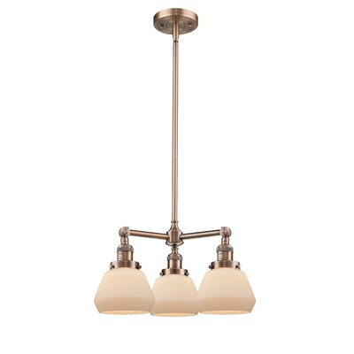 Dupree 3-Light Mini Chandelier Finish: Antique Copper, Shade Color: Matte White Cased Fulton