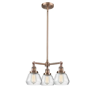 Dupree 3-Light Mini Chandelier Finish: Antique Copper, Shade Color: Clear Fulton