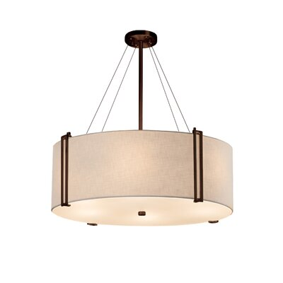 Kenyon 8-Light Drum Pendant Finish: Dark Bronze, Shade Color: Cream, Size: 12 H x 36.5 W x 36.5 D