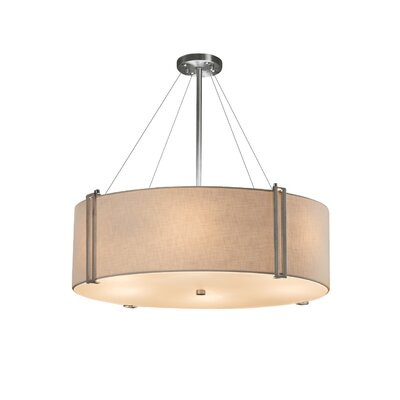 Kenyon 8-Light Drum Pendant Finish: Brushed Nickel, Shade Color: Cream, Size: 12 H x 36.5 W x 36.5 D