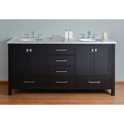 Ankney 72 Double Sink Bathroom Vanity Top Finish: Carrara