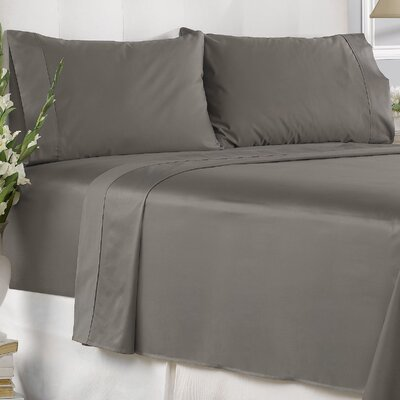 Garfield 450 Thread Count 100% Cotton Solid Pillowcase Size: King, Color: Gray
