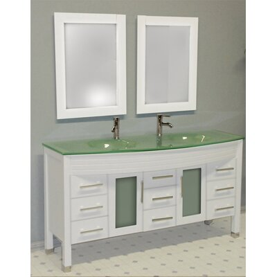 Meserve Wood and Glass 63 Double Bathroom Vanity Set with Mirror Base Finish: White