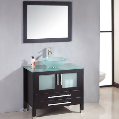 Meserve Solid Wood Glass Vessel 36 Single Bathroom Vanity Set with Mirror