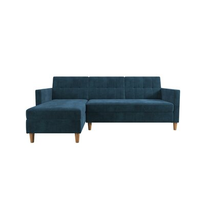 Stigall Sleeper Sectional with Ottoman Upholstery: Blue
