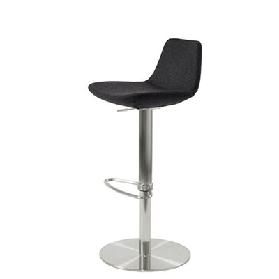 Shinn Piston Adjustable Swivel Height Bar Stool Leg Color: Chrome, Seat Color: Dark Gray Organic Wool