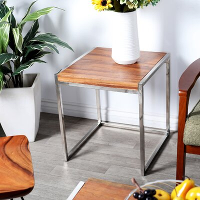 Dibella Modern Wood and Stainless Steel Square End Table