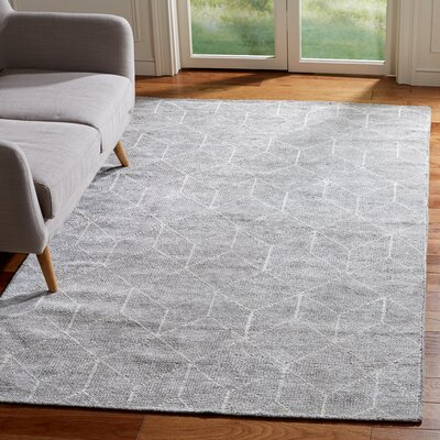 Oakely Hand-Knotted Gray Area Rug Rug Size: Rectangle 4 x 6