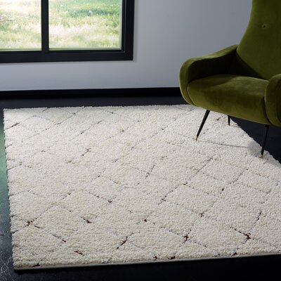 Copenhagen Shag Cream Area Rug Rug Size: Rectangle 9 x 12