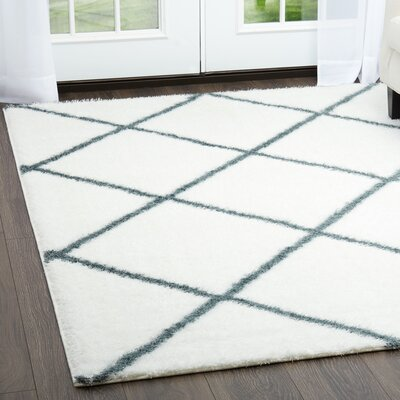 Glenpool Shimmery Shag Ivory/Blue Area Rug Rug Size: Rectangle 79 x 102