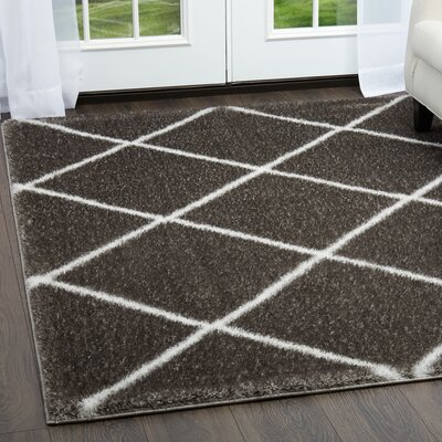 Glenpool Shimmery Shag Ivory/Gray Area Rug Rug Size: Rectangle 79 x 102