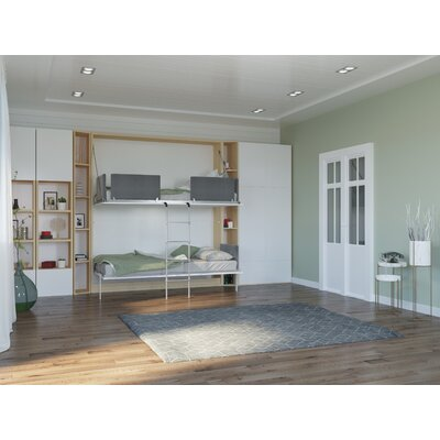 Butcombe Twin Murphy Bed Color: Gloss White and Light Wood
