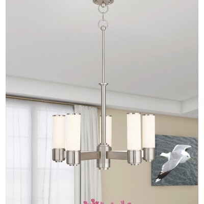 Kramer 5-Light Shaded Chandelier Finish: Brushed Nickel