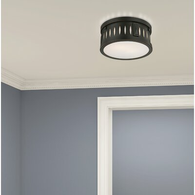 Kuhlman 2-Light Glass Shade Flush Mount Finish: Olde Bronze