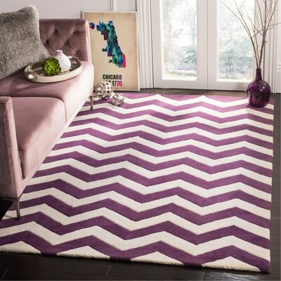 Averett Hand-Tufted Wool Purple/Ivory Area Rug Rug Size: Rectangle 5 x 8