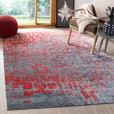 Ocellus Hand-Knotted Gray Area Rug Rug Size: Rectangle 6 x 9