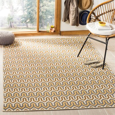 Kelston Brown/Camel Chevron Outdoor Area Rug Rug Size: Rectangle 51 x 77