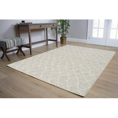 Kaela Neutral Waves Outdoor Gray Area Rug Rug Size: 53 x 77