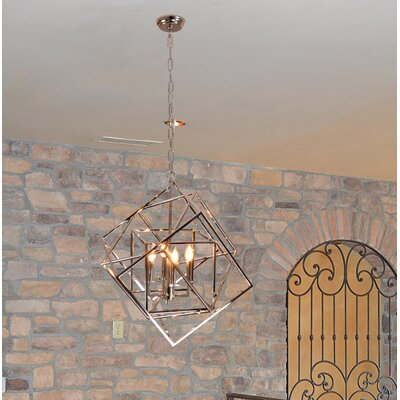 Ellenboro 4-Light Geometric Pendant Finish: Nickel