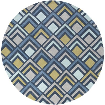 Mcgray Hand-Tufted Blue Area Rug Rug Size: Round 8