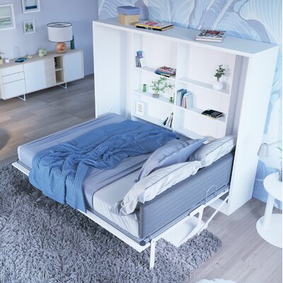 Hansell Full Murphy Bed with Mattress Color: Semi-Gloss White