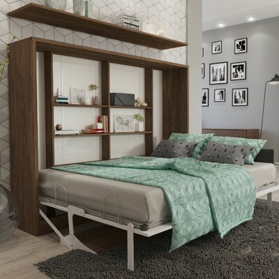 Hansell Full Murphy Bed with Mattress Color: High-Gloss White/DarkWood