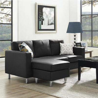 Lutz Reversible Sectional Upholstery: Black