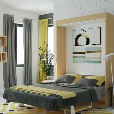Gavin Multimo Queen Murphy Bed Color: Gloss White and Light Wood