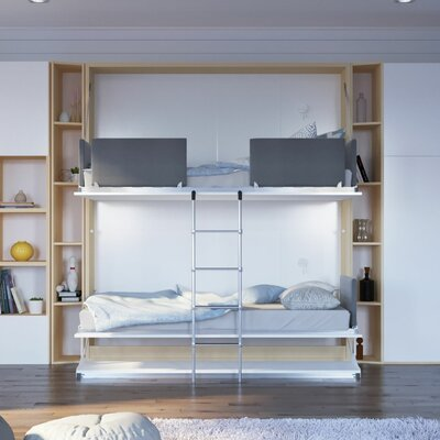 Gerry Twin Over Twin Murphy Bed Color: Gloss White and Light Wood