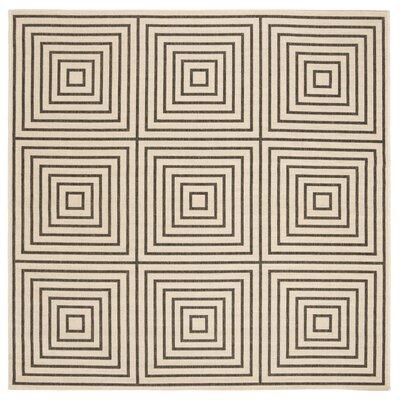 Horne Creme/Black Area Rug Rug Size: Square 67