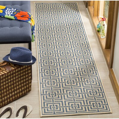 Horsholm Cream/Blue Area Rug Rug Size: Runner 2 x 8