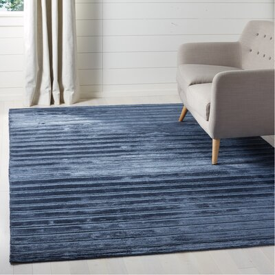 Maxim Navy/Blue Striped Rug Rug Size: Rectangle 8 x 10
