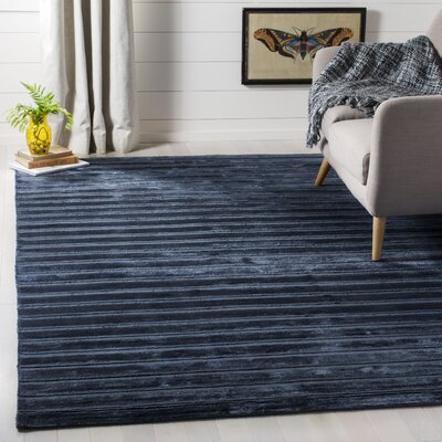Maxim Navy/Blue Striped Rug Rug Size: Rectangle 6 x 9