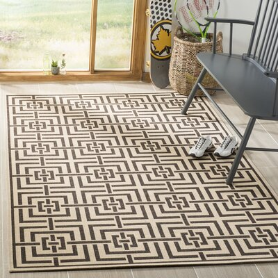 Horne Cream/Brown Area Rug Rug Size: Rectangle 51 x 76