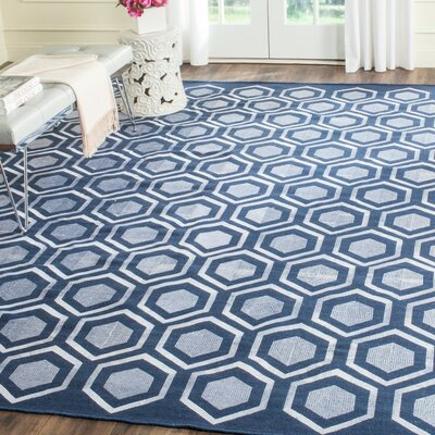 Barrier Hand-Woven Navy Area Rug Rug Size: Rectangle 5 x 8