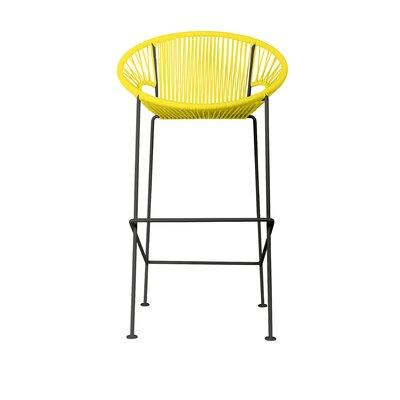 Cobblestone 26 Patio Bar Stool Base Finish: Black, Upholstery: Yellow
