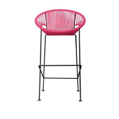 Cobblestone 26 Patio Bar Stool Base Finish: Black, Upholstery: Pink