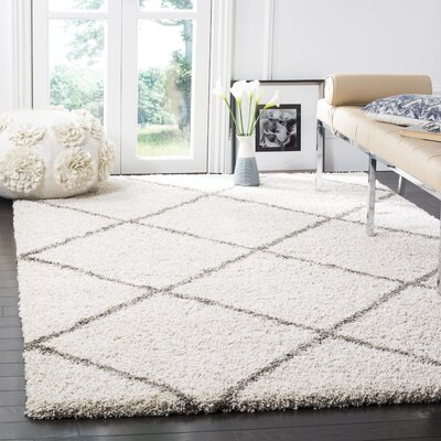 Duhon Ivory/Gray Shag Area Rug Rug Size: Rectangle 51 x 76