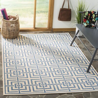 Horsholm Cream/Blue Area Rug Rug Size: Rectangle 51 x 76
