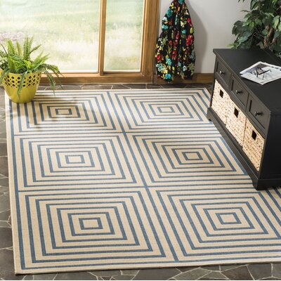 Horne Cream/Blue Area Rug Rug Size: Rectangle 9' x 12'