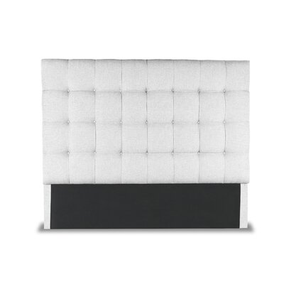 Hannover Box Tufting Upholstered Wingback Headboard Color: White, Size: High Height Queen